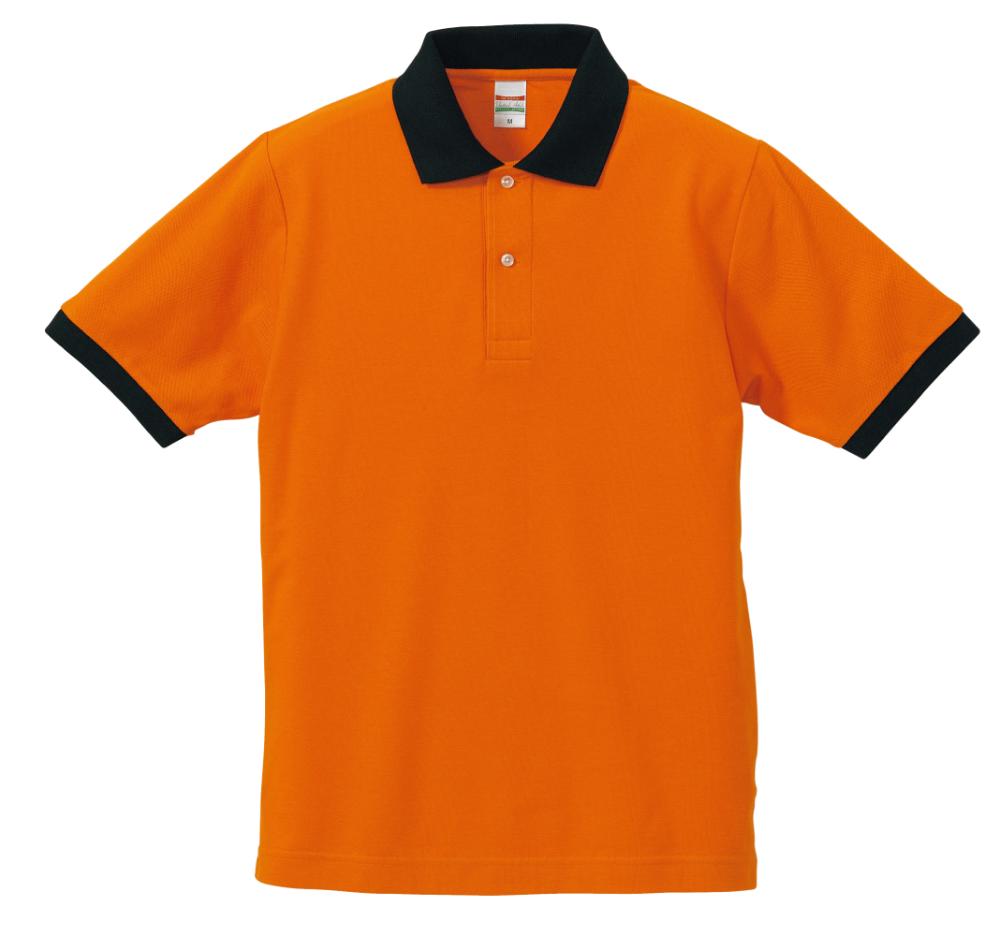 カラフルポロシャツ_オレンジ×ブラック