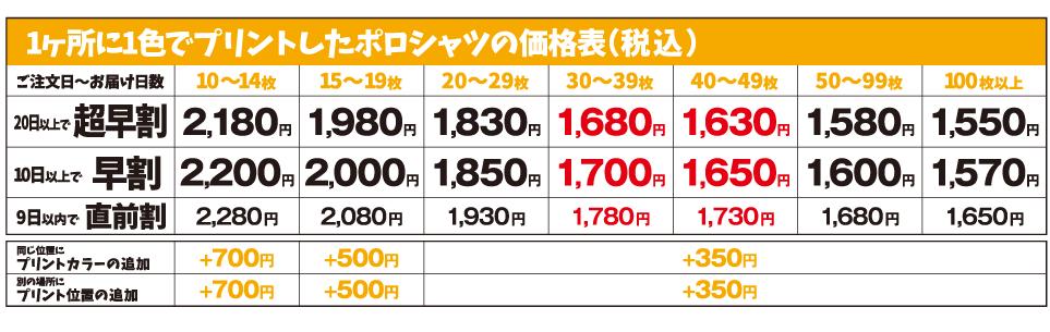 ミックスカラーポロシャツ価格表1