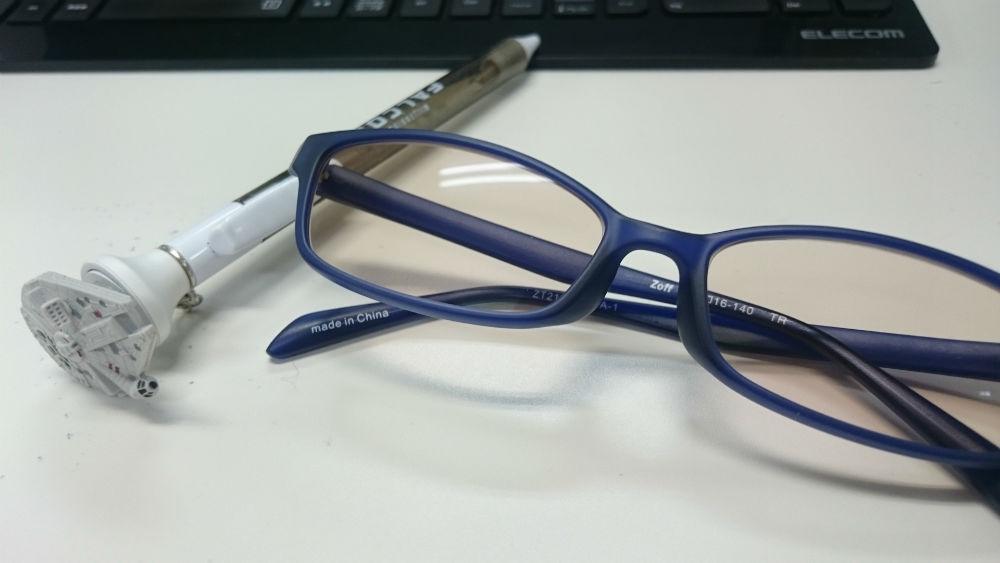 ZoffのPC用メガネ。もちろん度無しです!