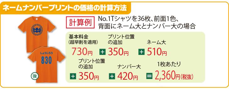 ネームナンバープリントの価格の計算方法