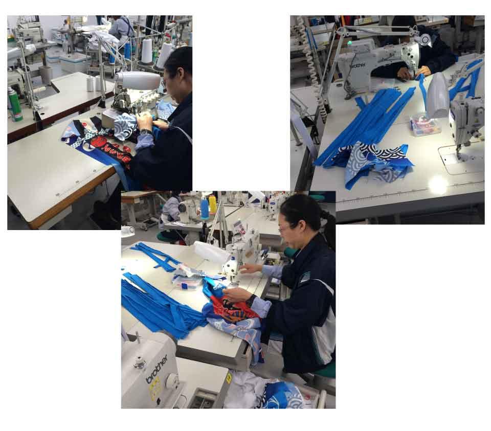 職人さんがミシンを使って1枚1枚丁寧に縫っていきます